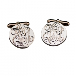 Hand-Engraved Round Sterling Cuff Links, Edging