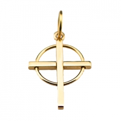 Small 14 Kt. Gold Cross with Circle Pendant