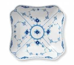 Blue Fluted Half Lace Square Bowl