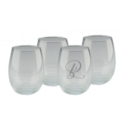 Deco Stemless Wine Glasses - Personalized, Set of 4