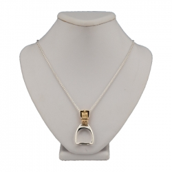 Sterling Silver and Gold Stirrup Pendant Necklace