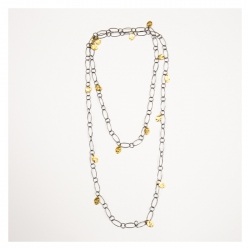 Gold and Black Open Link Seed Necklace
