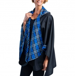 Black and Royal Tartan Travel Cape