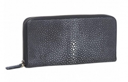Black Shagreen Zip Wallet