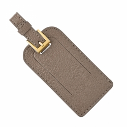 Taupe Leather Luggage Tags, Set of 2