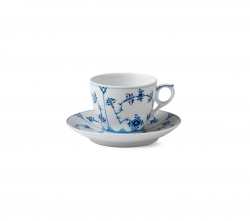 Blue Fluted Plain Tea Cup and Saucer