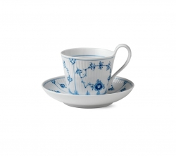 Blue Fluted Plain High Handled Cup and Saucer