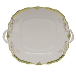 Princess Victoria Green Square Cake Plate