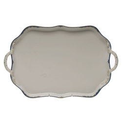 Princess Victoria Blue Rectangular Tray with Branch Handles