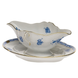 Chinese Bouquet Blue Gravy Boat with Fixed Stand
