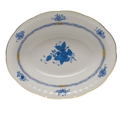 Chinese Bouquet Blue Oval Vegetable Bowl