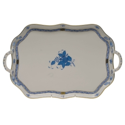 Chinese Bouquet Blue Rectangular Tray with Handles