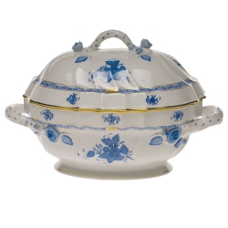 Chinese Bouquet Blue 2 Quart Tureen with Branch Handles