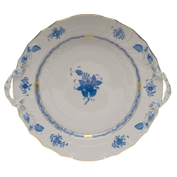 Chinese Bouquet Blue Chop Plate with Handles