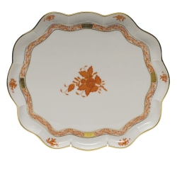 Chinese Bouquet Rust Scallop Tray