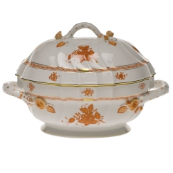 Chinese Bouquet Rust 2 Quart Tureen with Branch Handles