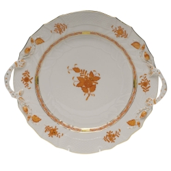 Chinese Bouquet Rust Chop Plate with Handles