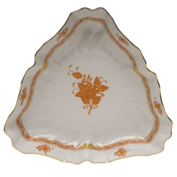 Chinese Bouquet Rust Triangle Dish