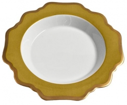 Anna's Palette Meadow Green Rim Soup Plate