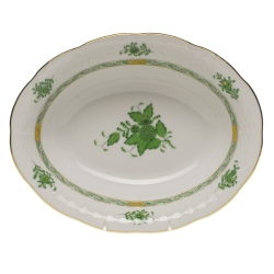 Chinese Bouquet Green Oval Vegetable Dish