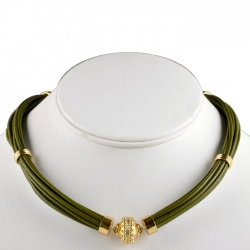 Aspen Leather Army Green Necklace