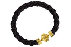Bolo Leather Black Bracelet