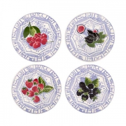 Oiseau Bleu Fruits Set of Four Canape Plates