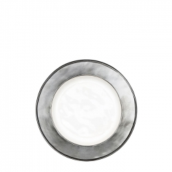 Emerson White and Pewter Side or Cocktail Plate