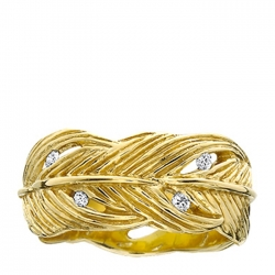 Grainger Mckoy Gold Wide Feather Ring with Diamonds