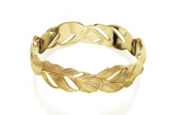 14K Wide Feather Bangle Bracelet