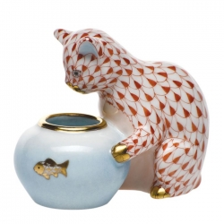 Gone Fishing Rust  Fishscale Cat with Fish bowl