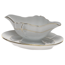 Golden Edge Gravy Boat with Fixed Stand