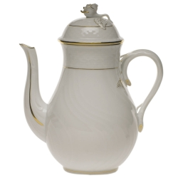 Golden Edge 36 Ounce Coffeepot with Rose