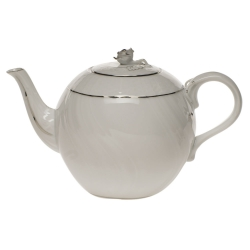 Platinum Edge 36 Ounce Tea Pot with Rose