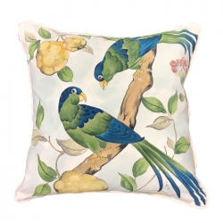 Hand Painted Antique Birds Pillow