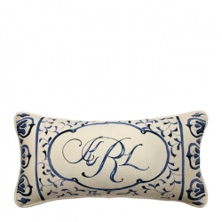Hand Painted Blue and white Ming China Patterned Lumbar Pillow