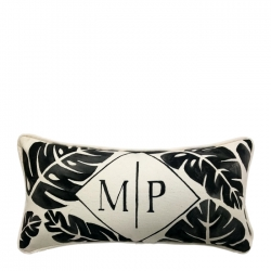 Hand Painted Palm Monogram Pillow