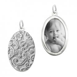 Oval Floral Half-Locket Charm