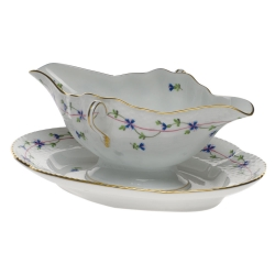 Blue Garland Gravy Boat with Fixed Stand