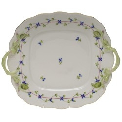 Blue Garland Square Cake Plate with Handles