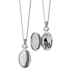 Petite Pinstripe Locket in Silver