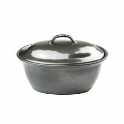 Pewter Stoneware Medium Covered Casserole