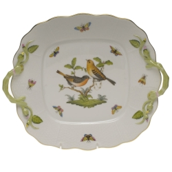 Rothschild Bird Square Cake Plate with Handles