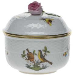 Rothschild Bird 6 Ounce Covered Sugar with Rose
