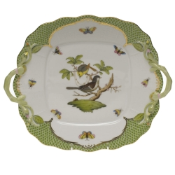 Rothschild Bird Green Border Square Cake Plate with Handles