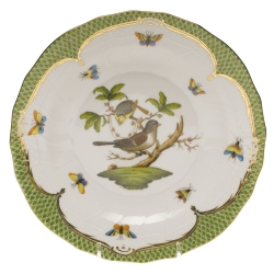Rothschild Bird Green Border Dessert Plate, Motif #1