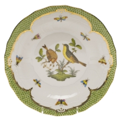 Rothschild Bird Green Border Dessert Plate, Motif #7