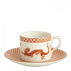 Red Dragon Can Cup and Saucer