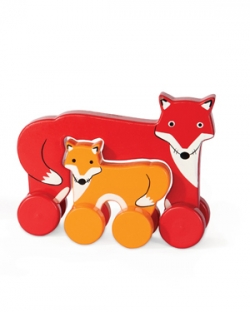 Fox Mommy and Baby Push Toy