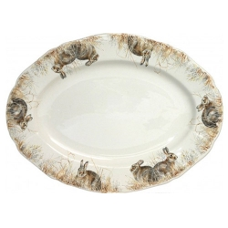 Sologne Oval Platter with Rabbit